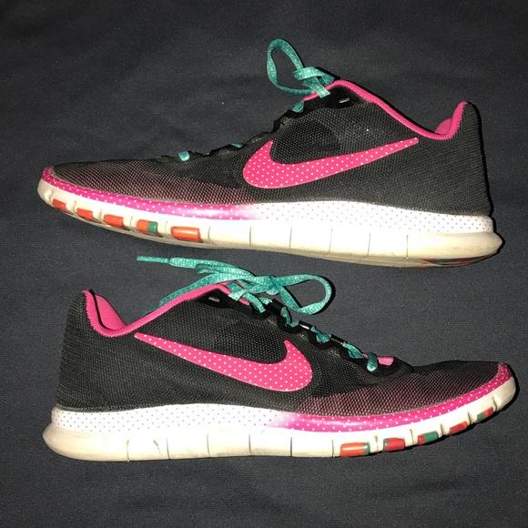 half off 065ef 7c63f Nike Free 3.0 Size 9.5 black pink polka dot